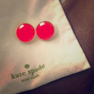 Kate spade hot pink gold clip on earrings